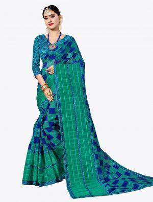 Sea Green and Royal Blue Kota Silk Designer Saree small FABSA20632