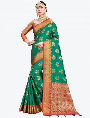 Sea Green Banarasi Art Silk Designer Saree small FABSA20547