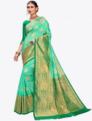 Sea Green Banarasi Art Silk Designer Saree small FABSA20561