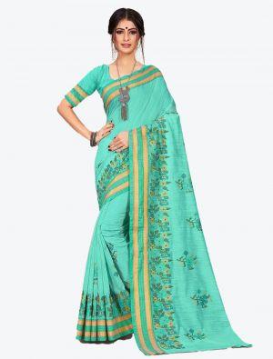 Sea Green Cotton Designer Saree small FABSA20610