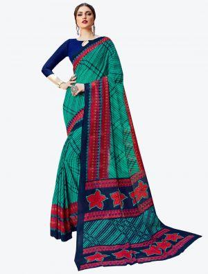 Sea Green Georgette Designer Saree small FABSA20591
