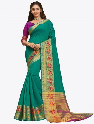 Sea Green Khadi Silk Designer Saree small FABSA20567