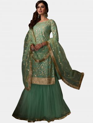 Sea Green Net Sharara Suit with Dupatta small FABSL20191