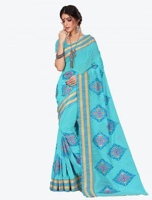 Sky Blue Cotton Designer Saree small FABSA20608