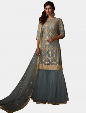 Steel Blue Net Sharara Suit with Dupatta small FABSL20187