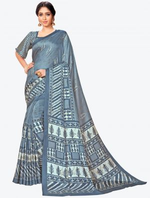 Steel Blue Pashmina Designer Saree small FABSA20594