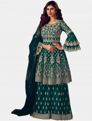 Teal Blue Net Sharara Suit with Dupatta small FABSL20203