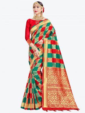 Teal Green and Red Banarasi Art Silk Designer Saree small FABSA20539