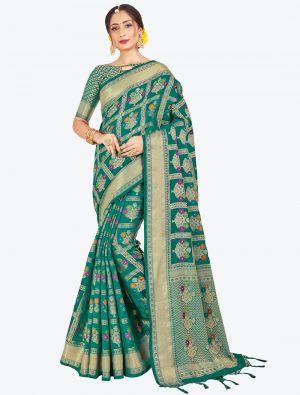 Teal Green Banarasi Art Silk Designer Saree small FABSA20555