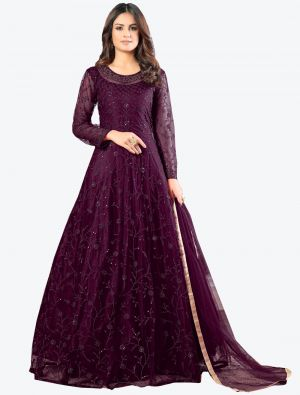 Wine Net Floor Length Suit with Dupatta small FABSL20179