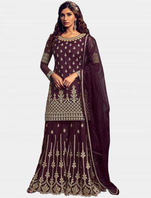 Wine Net Sharara Suit with Dupatta small FABSL20204