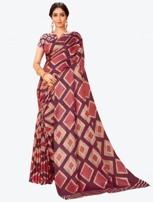 Wine Pashmina Designer Saree small FABSA20599