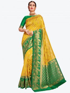 Yellow Banarasi Art Silk Designer Saree small FABSA20558