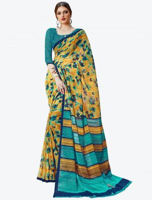 Yellow Georgette Designer Saree small FABSA20585