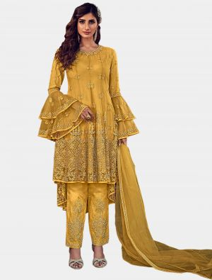 Yellow Net Straight Suit with Dupatta small FABSL20201
