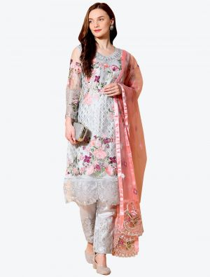 Beacon Grey Net Designer Party Wear Suit with Dupatta small FABSL20554