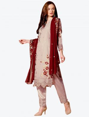 Brownish Grey Georgette Designer Party Wear Suit with Dupatta small FABSL20553