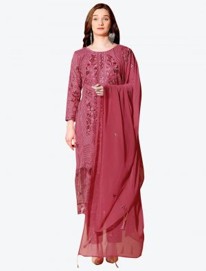 Dark Coral Pink Georgette Designer Party Wear Suit with Dupatta small FABSL20550