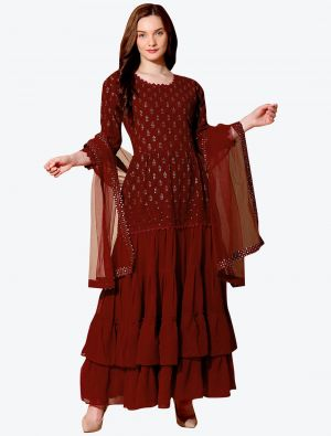 Deep Maroon Georgette Designer Party Wear Suit with Dupatta small FABSL20560