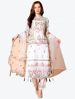 Ivory White Georgette Designer Party Wear Suit with Dupatta small FABSL20555