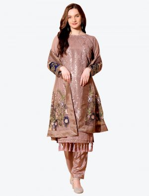 Pastel Brown Georgette Designer Party Wear Suit with Dupatta small FABSL20556