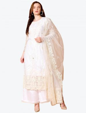 Pearl White Net Designer Party Wear Suit with Dupatta small FABSL20551