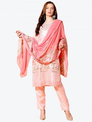 Rose Gold Georgette Designer Party Wear Suit with Dupatta small FABSL20558