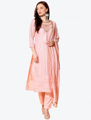 Soft Pink Georgette Designer Party Wear Suit with Dupatta small FABSL20552