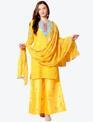 Warm Yellow Georgette Designer Party Wear Suit with Dupatta small FABSL20559