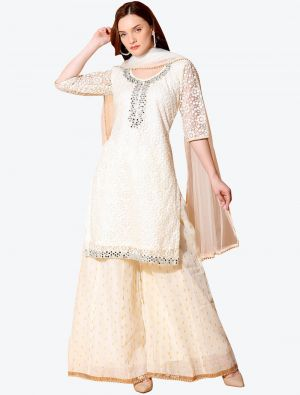 Whitish Cream Net Designer Party Wear Suit with Dupatta small FABSL20557