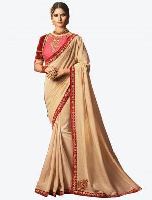 Beige Dola Silk Designer Saree small FABSA20770