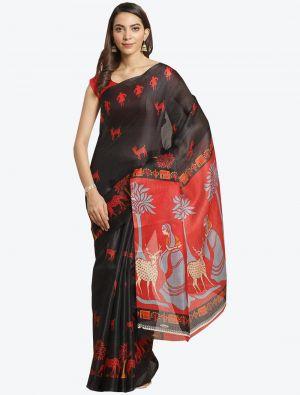 Black Bhagalpuri Art Silk Designer Saree small FABSA20879