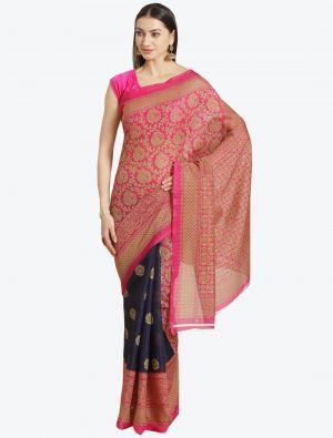 Blue and Pink Bhagalpuri Art Silk Designer Saree small FABSA20867