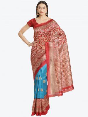 Blue and Red Bhagalpuri Art Silk Designer Saree small FABSA20872