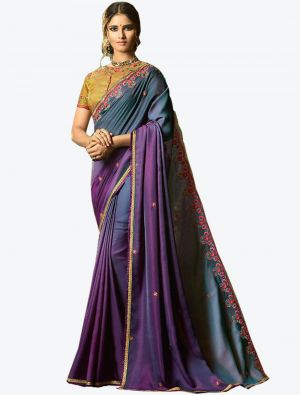 Bluish Purple Dola Silk Designer Saree small FABSA20769