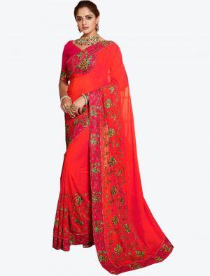 Bright Red Dola Silk Designer Saree small FABSA20775
