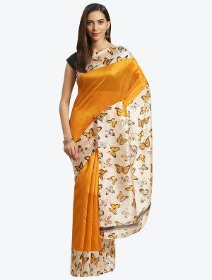 Cream and Yellow Bhagalpuri Art Silk Designer Saree small FABSA20883