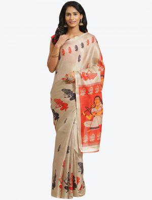 Cream Bhagalpuri Art Silk Designer Saree small FABSA20865