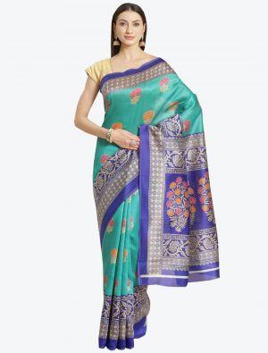 Cyan Bhagalpuri Art Silk Designer Saree small FABSA20873