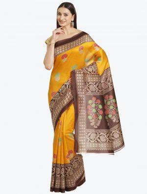 Deep Yellow Bhagalpuri Art Silk Designer Saree small FABSA20869