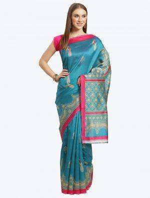 Light Blue Bhagalpuri Art Silk Designer Saree small FABSA20880