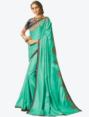 Light Green Dola Silk Designer Saree small FABSA20767