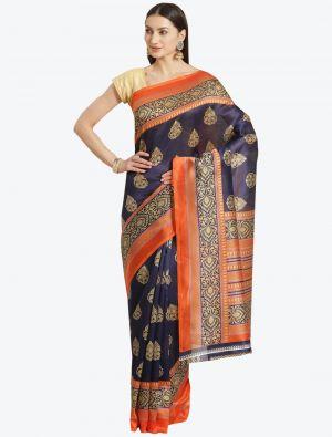 Navy Blue Bhagalpuri Art Silk Designer Saree small FABSA20868