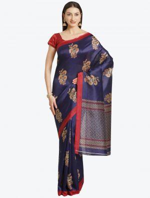 Navy Blue Bhagalpuri Art Silk Designer Saree small FABSA20882