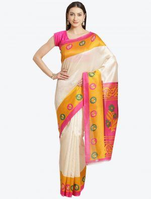 Off-White Bhagalpuri Art Silk Designer Saree small FABSA20874