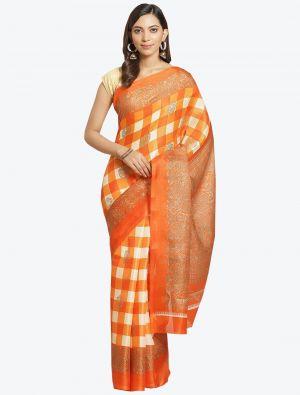 Orange and Cream Bhagalpuri Art Silk Designer Saree small FABSA20877