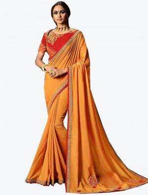 Orange Dola Silk Designer Saree small FABSA20768
