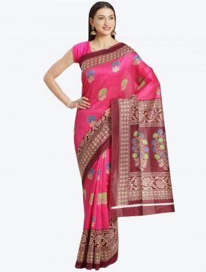 Pink Bhagalpuri Art Silk Designer Saree small FABSA20871