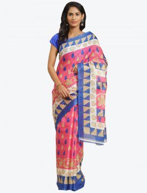 Pink Bhagalpuri Art Silk Designer Saree small FABSA20875