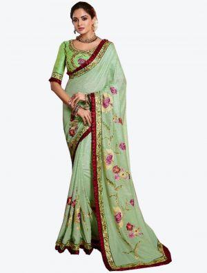 Pista Green Dola Silk Designer Saree small FABSA20772